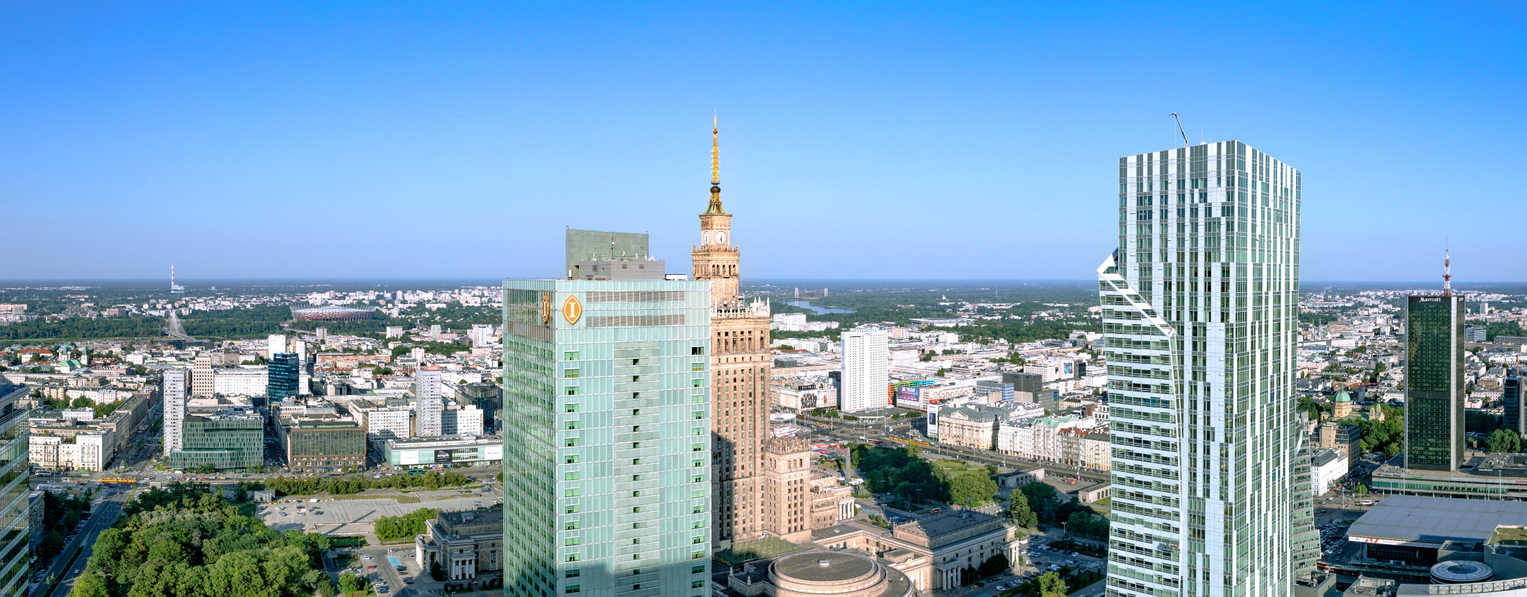 Panoramic view of Warsaw from the Rondo 1 rooftop